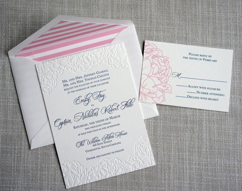 Letterpress Peony Wedding Invitation