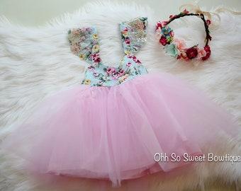 Olivia Flower Dress - Girls Toddler Dress - Baby Girl 1st Birthday - Fairy  Garden Birthday Party Outfit - Cake Smash Photoshoot - Wedding 140f1938619f