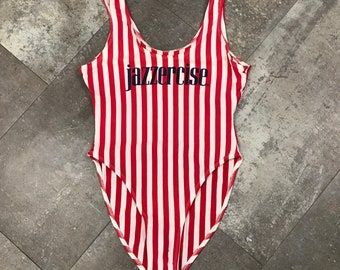 aac20bba2d6 1980s Body Flex Jazzercise Striped Leotard Red White   Blue