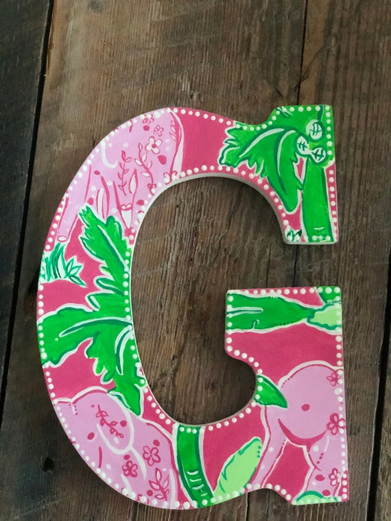 lilly pulitzer inspired letters flamingo pink taboo