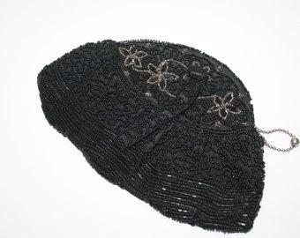 Beaded Clutch Purse, Black Evening Bag, Antique Belgian Dance Purse,  Glass Beads,