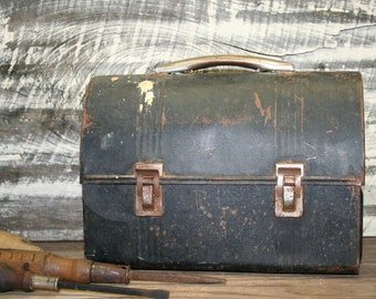 Vintage Black Lunch Box -1950's-American Thermos Bottle Co Norwich CT