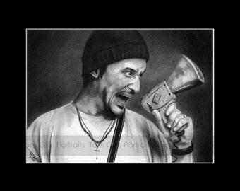 portrait drawing of Mike Patton (matted print)
