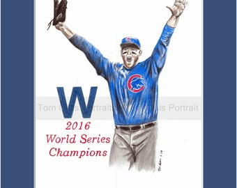 portrait drawing of Anthony Rizzo (matted print)