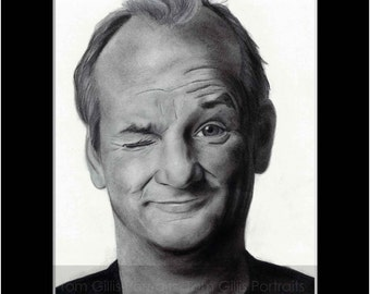portrait drawing of Bill Murray (matted print)
