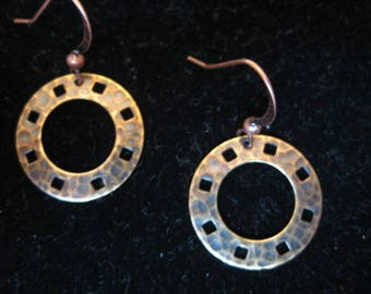 Brass Oxidized Hammered Ring Dangle Earrings