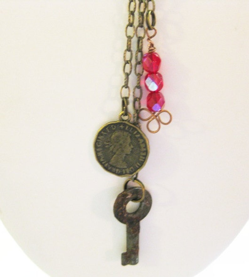 Copper Charm Necklace With Mixed Metal Charms  C-2