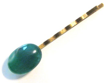 Green Agate Bobby Pin  B-64