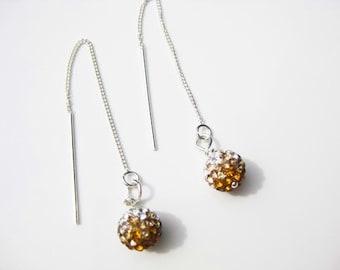 Amber Honey Silver Ombre Swarovski Crystal Globe Sterling Silver Ear Threads