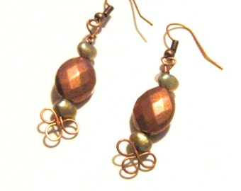 Copper and Sage Green Freshwater Pearl Dangle Earrings