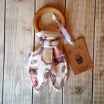 Sale 30% off. Owls Natural Teething Ring. Girl Baby Gift.