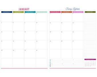 12 Month Portait Two Page Calendar Printable - Prefilled for 2018 - INSTANT DOWNLOAD