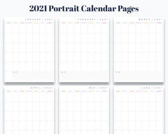 "Junior 5.5"" x 8.5"" 12 Month Portrait Calendar Printable - Prefilled for 2021 - INSTANT DOWNLOAD"