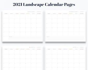 "A5 5.83"" x 8.27"" 12 Month Landscape Calendar Printable - Prefilled for 2021 - INSTANT DOWNLOAD"