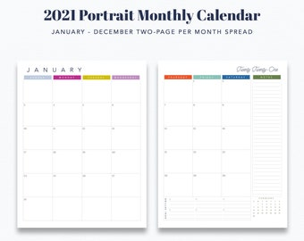 "Standard 8.5"" x 11"" 12 Month Portrait Calendar Printable (2-Page Spread) - Prefilled for 2021 - INSTANT DOWNLOAD"