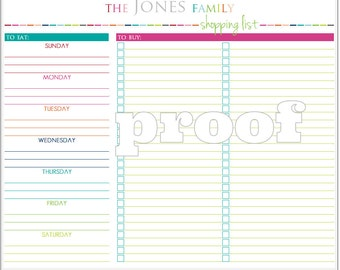 Personalized Meal Planning and Shopping List Printable