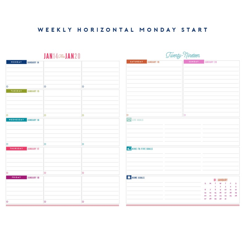 photograph relating to Weekly Planner Page named 2019 Letter Measurement Weekly Planner Printable Internet pages - Immediate Down load PDF - (8.5\