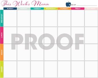 Meal Planning Calendar Printable - INSTANT DOWNLOAD