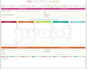 Personalized Babysitter Notes Printable