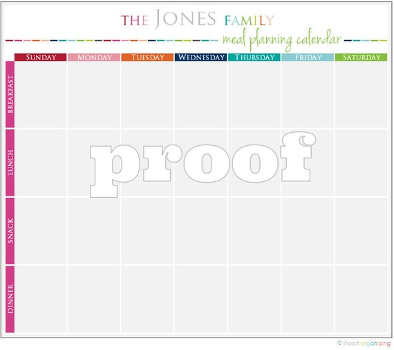 personalized meal planning calendar printable etsy
