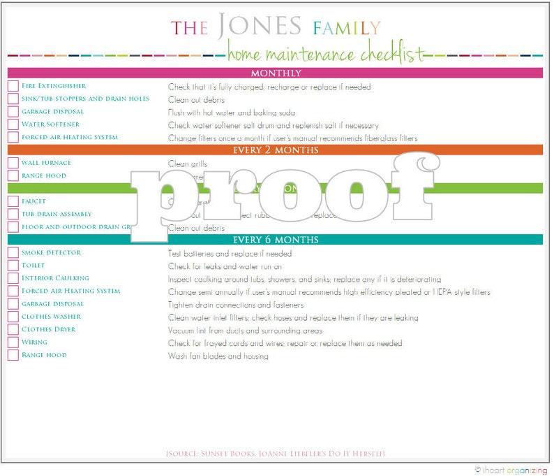 image regarding Change of Address Checklist Printable named Tailored Household Repair service Listing Printable