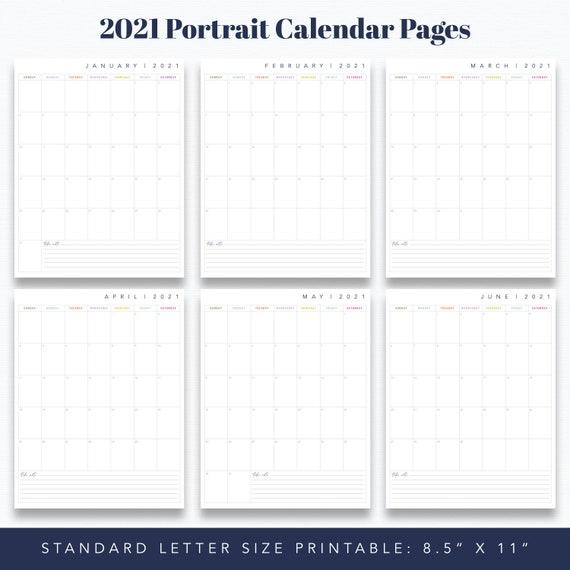 Standard 8 5 X 11 12 Month Portrait Calendar Etsy