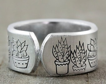 Succulent Jewelry - Succulent Ring - Hand Stamped Ring - Terrarium Jewelry - Thumb Rings for Women - Gardener Gift - Cuff Ring - Boho Rings