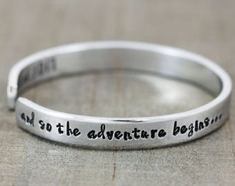Personalized Graduation Jewelry - Quote Bracelet - Graduation Gift for Her - 2018 Graduation - Going Away to College - Hand Stamped Cuff