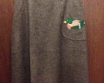 Vintage gray wool mallard duck skirt Silkmaker small