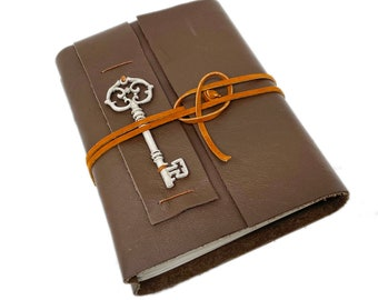 Brown Leather Journal with Blank Paper and Key Charm. Travel Notebook.