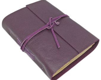Leather Journal with Tea Stained Paper, Purple Leather, Handmade, Wedding, Prayer Journal, Wedding Guestbook, Leather Goods
