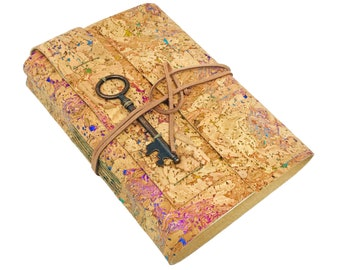Cork Handbound Journal with Blank Pages and Key Charm. Cork. Leather Alternative. Ready to Ship. Vegan. Eco-Friendly Journal