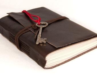 Dark Brown Leather Journal with Real Skeleton Key Bookmark