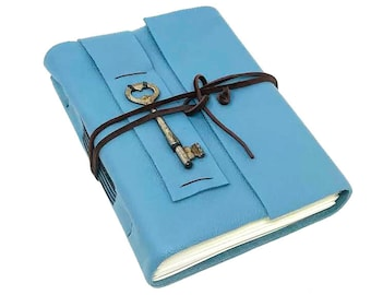Blue Leather Journal with Lined Paper and Skeleton Key. Handmade Diary.