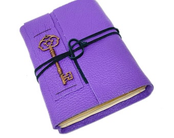 Purple Leather Journal with Tea Stained Paper and Key Charm.