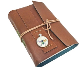 Light Brown Faux Leather Journal with Lined Paper and Cameo