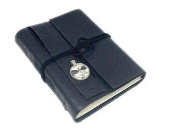 Black Vegan Journal with Blank Paper. Cork. Leather Alternative.  Cameo.