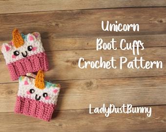 Unicorn Boot Cuffs Pattern / Unicorn Gifts / Crochet Unicorn Pattern