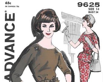 Advance 9625 Womens 60s Two Piece Dress Sewing Pattern Size 14 Bust 34