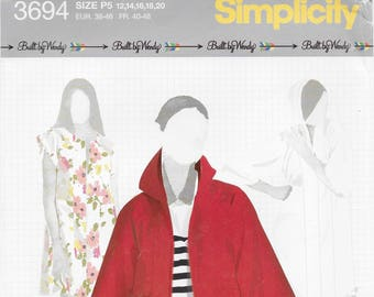 Simplicity 3694 Misses dress or Minidress and Hoody Size 12 to 20 Bust 34 to 42