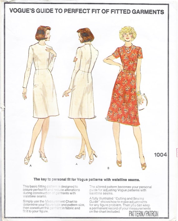 Vogue 1004 Basic Fitting Shell and Dress Sewing Pattern Size | Etsy