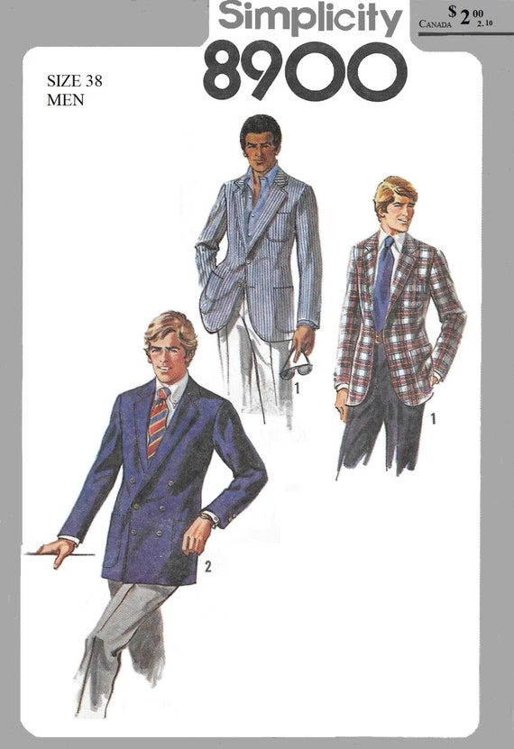 Simplicity 8900 Men\'s 70s Lined Jacket Sewing Pattern | Etsy