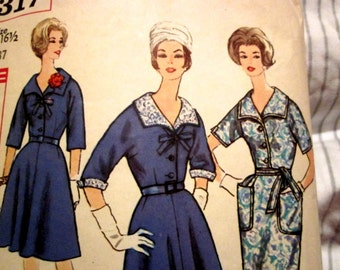 Simplicity 4317 Womens 1960s One Piece Dress with Full or Slim Skirt Sewing Pattern Size 16 1/2 Bust 37