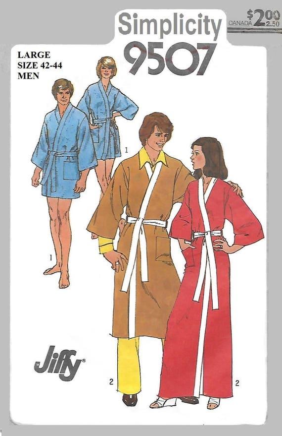 Simplicity 9507 Unisex 80s Jiffy Kimono Robe Sewing Pattern   Etsy