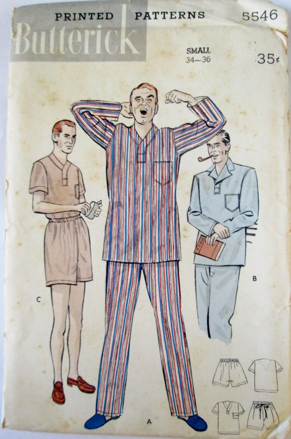 Butterick 5546 Männer 50er Jahre Schlafanzug Nähen Muster   Etsy