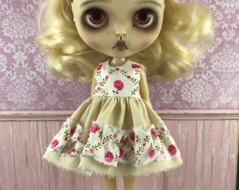 Blythe Dress - Tea Stain with Rose Floral