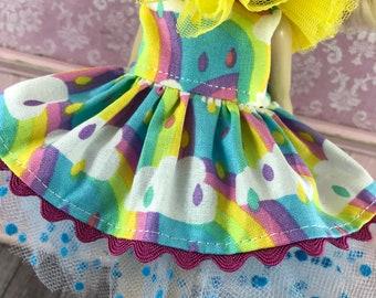 Blythe Tutu Dress Set - Rainbows and Clouds