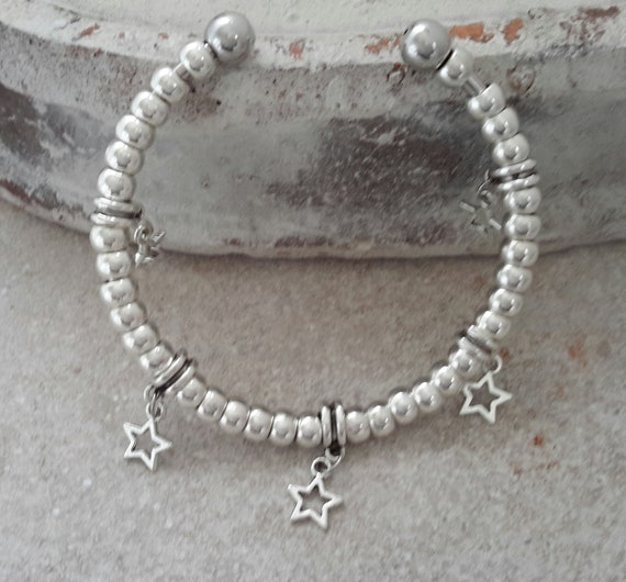 2 12 stone Diet Slimming Aid Weight Loss Motivational Silver Bead Heart Silver Bracelet or Bangle