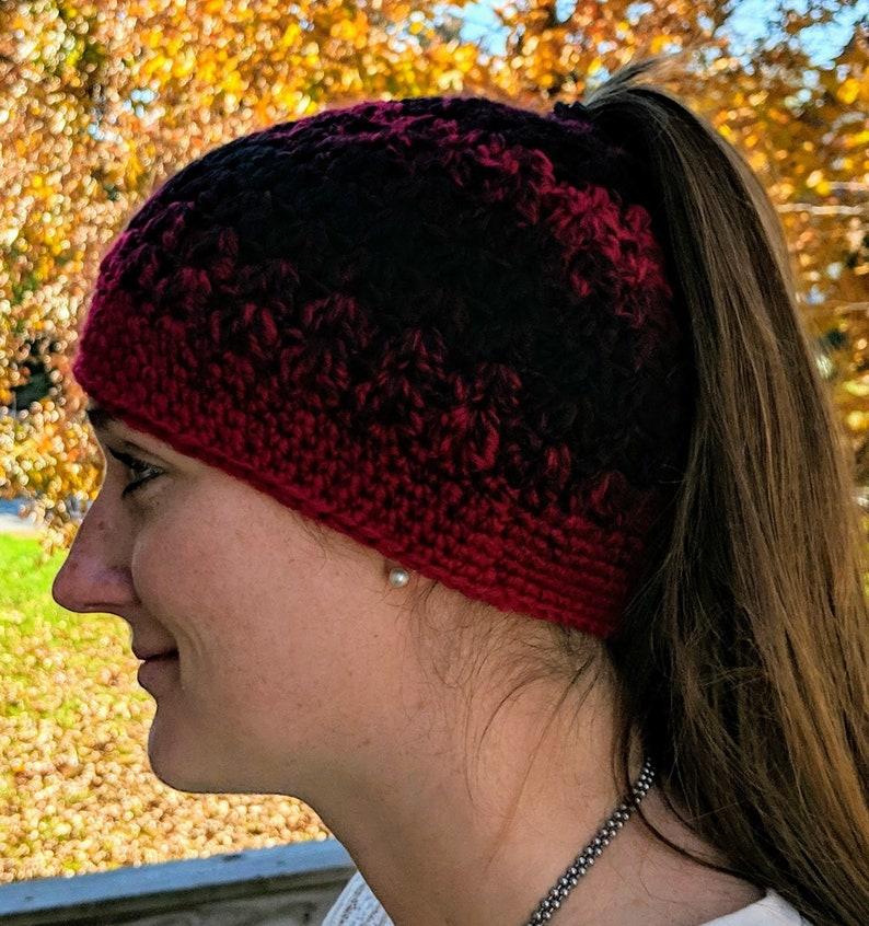 Red and Black Messy Bun  Ponytail Hat