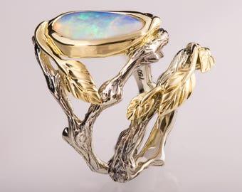 Twig and Leaf Engagement Set, Opal engagement ring, Twig Opal ring, Leaf Opal Ring, 8
